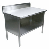 EBOP3R5 Series 16-Gauge Stainless Steel 84'' W x 30'' D Enclosed Work Table with 3/4'' Thick Polyethylene Flat Top, 5'' Riser and Open Front