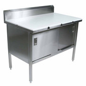 EBSP3R5 Series 16-Gauge Stainless Steel 120'' W x 30'' D Enclosed Work Table with 3/4'' Thick Polyethylene Flat Top, 5'' Riser and Sliding Doors