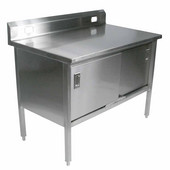 Stainless Steel Enclosed Table w/ Electrical Outlet Cutouts, Sliding Doors & 6'' Riser, 16 Gauge, Different Sizes Available