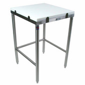 Poly Top Work Table w/ Stainless Steel Base & Bracing & Flat Top (Includes 2 Poly Tops), Numerous Sizes Available