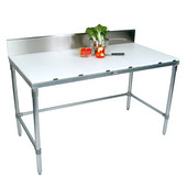 Poly Top Work Table w/ Galvanized Base & Bracing & 6'' High Rear Riser, Numerous Sizes Available