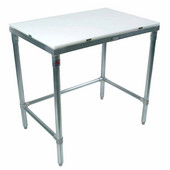 Poly Top Work Table w/ Galvanized Base & Bracing & Flat Top, Different Sizes Available
