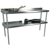 Economy 16-Gauge Stainless Steel Overshelf Welded - For Stainless Steel Top Tables, Double Overshelf, Rear Mount, 72'' W x 12'' D