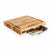 Newton Prep Master Cutting Board, 15'' W x 14'' D x 2 1/4'' Thick, Edge Grain, with Pan
