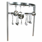 Boat Shaped Stainless Steel Pot Rack with Removable Hooks - Table Mount, Different Sizes Available