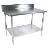 ST4R5-GS Series 14-Gauge Stainless Steel Work Table 144'' W x 24'' D with 5'' Riser, Galvanized Legs and Shelf, All Welded Set-Up