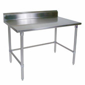 Stainless Steel Work Table w/ Stainless Steel Bracing & Legs, & 5'' High Rear Riser, 14 Gauge, Multiple Sizes Available