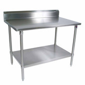 ST4R5-SS Series 14-Gauge Stainless Steel Work Table 144'' W x 18'' D with 5'' Riser, Stainless Steel Legs and Shelf, All Welded Set-Up