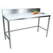 Poly Top Work Table w/ Stainless Steel Base & Bracing & 6'' High Removable Rear Riser, Available in Numerous Sizes