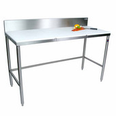 Poly Top Work Table w/ Stainless Steel Base & Bracing & 6'' High Boxed Non-Removable Rear Riser, Available in Numerous Sizes