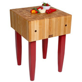 PCA Butcher Block with Knife Holder, Barn Red, Multiple Sizes Available