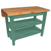 Kitchen Island Bar Work Table, Basil, 60'' W x 30'' D (38'' D with Drop-Leaf Up) x 35''H
