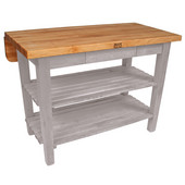 Kitchen Island Bar Work Table, Useful Gray Stain, 60'' W x 30'' D (38'' D with Drop-Leaf Up) x 35''H