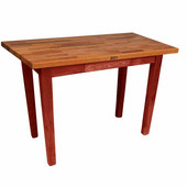 Oak Table Boos Block, 48'' W x 25'', 30'', or 36'' D x 35''H, Barn Red