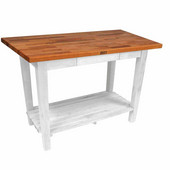Oak Table Boos Block, 48'' W x 25'', 30'', or 36'' D x 35''H, With 1 Shelf, Alabaster