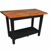 Oak Table Boos Block, 60'' W x 25'', 30'', or 36'' D x 35''H, With 1 Shelf, Black