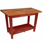 Oak Table Boos Block, 36'' W x 25'' D x 35''H, With 1 Shelf, Barn Red