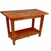 Oak Table Boos Block, 60'' W x 25'', 30'', or 36'' D x 35''H, With 1 Shelf, Warm Cherry Stain