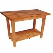 Oak Table Boos Block, 48'' W x 25'', 30'', or 36'' D x 35''H, With 1 Shelf, Natural Maple