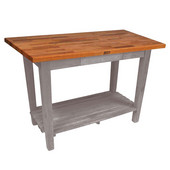 Oak Table Boos Block, 48'' W x 25'', 30'', or 36'' D x 35''H, With 1 Shelf, Useful Gray Stain