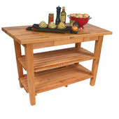 Oak Table Boos Block, 36'' W x 25'' D x 35''H, With 2 Shelves, Natural Maple