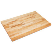 Commercial Grade 2-1/4'' Thick Hard Rock Maple Edge Grain Bakers Table Top, Non-Reversible, Varnique Finish, Available in Multiple Widths & Depths