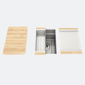 JULIEN Smartstation 13-1/2'' Single Undermount Kitchen Sink, Includes Grid, Drying Rack, Colander, Cutting Board with Maple Handles