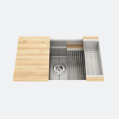JULIEN Smartstation 31-1/2'' Single Undermount Kitchen Sink, Includes Grid, Drying Rack, Colander, Cutting Board with Maple Handles