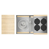 JULIEN Home Refinements SmartStation 31-1/2'' W Single Sink Set with Stainless Steel Undermount Sink and Maple Accessories, 31-1/2'' W x 19-5/8'' D x 10'' H