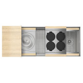JULIEN Home Refinements SmartStation 49-1/2'' W Single Sink Set with Stainless Steel Undermount Sink and Maple Accessories, 49-1/2'' W x 19-5/8'' D x 10'' H
