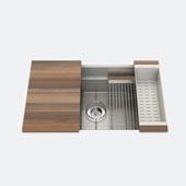 JULIEN Smartstation 31-1/2'' Single Undermount Kitchen Sink, Includes Grid, Drying Rack, Colander, Cutting Board with Walnut Handles