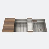 JULIEN Smartstation 49-1/2'' Single Undermount Kitchen Sink, Includes Grid, Drying Rack, Colander, Cutting Board with Walnut Handles