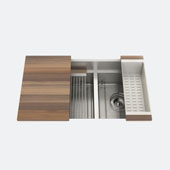 JULIEN Home Refinements SmartStation 32-1/2'' W Double Sink Set with Stainless Steel Undermount Sink and Walnut Accessories, 32-1/2'' W x 19-5/8'' D x 10'' H