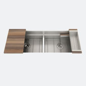 JULIEN Smartstation 50-1/2'' Double Undermount Bowl Kitchen Sink, Includes Grid, Drying Rack, Colander, Cutting Board with Walnut Handles