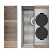 JULIEN Home Refinements SmartStation 13-1/2'' W Single Sink Set with Stainless Steel Undermount Sink and Walnut Accessories, 13-1/2'' W x 19-5/8'' D x 10'' H