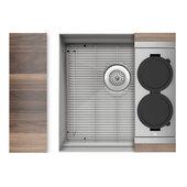 JULIEN Home Refinements SmartStation 19-1/2'' W Single Sink Set with Stainless Steel Undermount Sink and Walnut Accessories, 19-1/2'' W x 19-5/8'' D x 10'' H