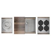 JULIEN Home Refinements SmartStation 25-1/2'' W Single Sink Set with Stainless Steel Undermount Sink and Walnut Accessories, 25-1/2'' W x 19-5/8'' D x 10'' H