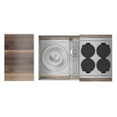 JULIEN Home Refinements SmartStation 31-1/2'' W Single Sink Set with Stainless Steel Undermount Sink and Walnut Accessories, 31-1/2'' W x 19-5/8'' D x 10'' H
