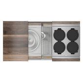 JULIEN Home Refinements SmartStation 37-1/2'' W Single Sink Set with Stainless Steel Undermount Sink and Walnut Accessories, 37-1/2'' W x 19-5/8'' D x 10'' H