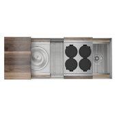 JULIEN Home Refinements SmartStation 49-1/2'' W Single Sink Set with Stainless Steel Undermount Sink and Walnut Accessories, 49-1/2'' W x 19-5/8'' D x 10'' H