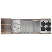 JULIEN Home Refinements SmartStation 61-1/2'' W Single Sink Set with Stainless Steel Undermount Sink and Walnut Accessories, 61-1/2'' W x 19-5/8'' D x 10'' H