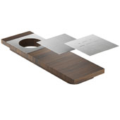 19'' Walnut Presentation Board with Stainless Steel Plates, Compatible For Use with 18'' Wide Sinks