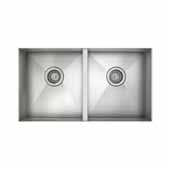 JULIEN ProInox H0 Collection ADA Undermount Equal Double Bowl Kitchen Sink, 18 Gauge Stainless Steel, 31''W x 18''D x 5-1/2''H