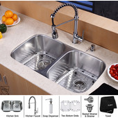 32-1/4'' Undermount Double Bowl Kitchen Sink with Commercial Style Kitchen Faucet & Soap Dispenser in Chrome