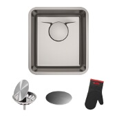 KRAUS Dex� 17-Inch Undermount Single Bowl T304Plus TRU16 Gauge Stainless Steel Bar Sink with DrainAssure WaterWay and VersiDrain Assembly in Radiant Pearl Finish
