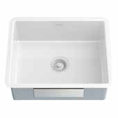 Undermount Porcelain Enameled Steel Single Bowl Kitchen Sink in White