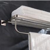 Aura Bathroom Towel Rack with Towel Bar in Brushed Nickel, 23-5/8'' W x 8-1/16'' D x 4-13/16'' H