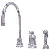 Brass Restoration Widespread Kitchen Faucet w/ Brass Sprayer, Metal Lever, Satin Nickel Finish