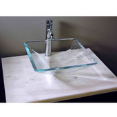 Crystal Glass Pyramid Sink, 16-5/8''W x 16-5/8''D x 6''H