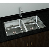 Double Basin Under-Mount Sink, 18-Gauge 304-Series Stainless Steel (18/10), 10mm Radius with Strainer Drain, 32''W x 18''D x 10''H